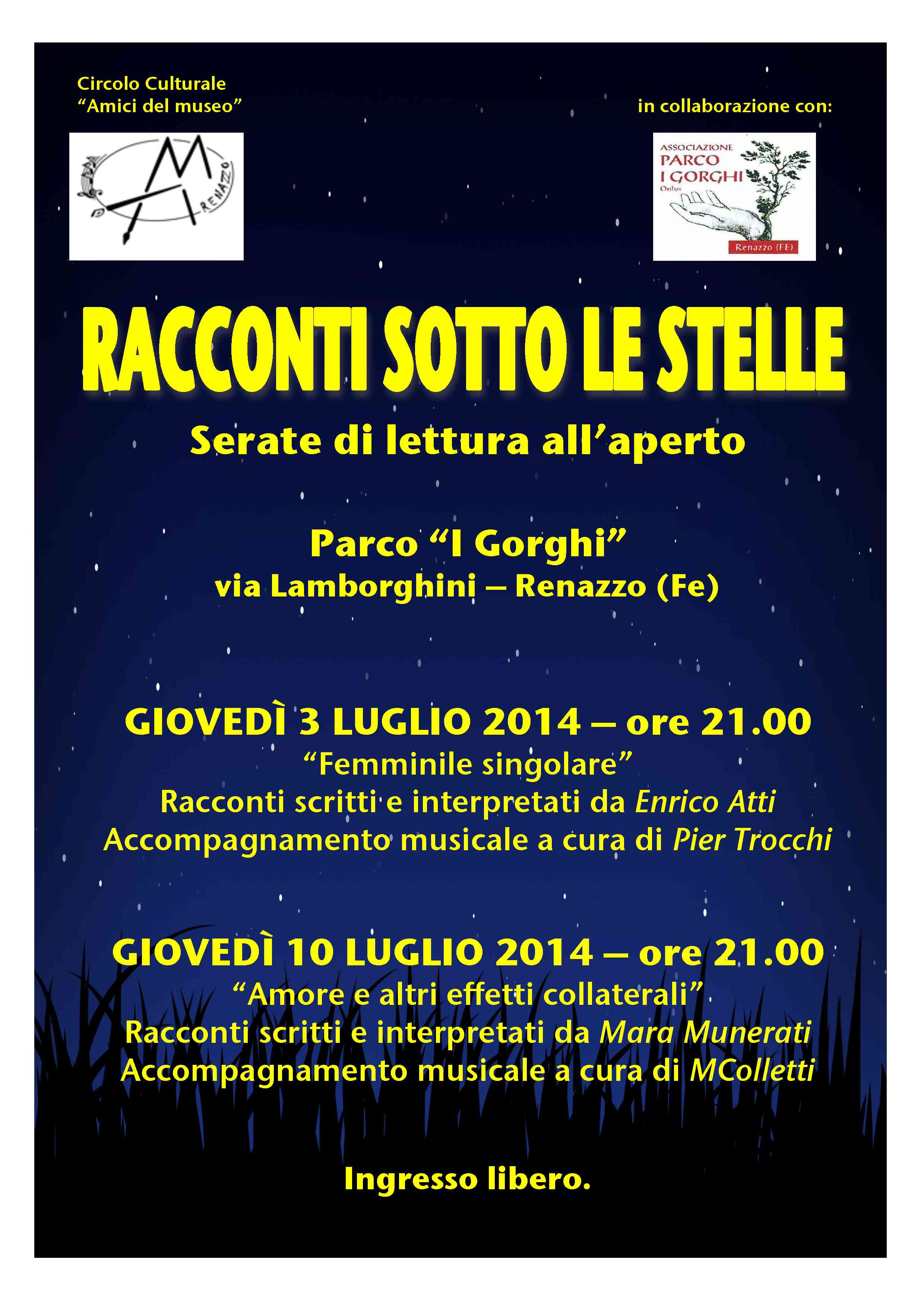 Racconti sotto le stelle : due serate al Parco dei Gorghi a Renazzo
